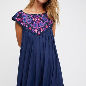 In The Flowers Embroidered Mini Dress Free People
